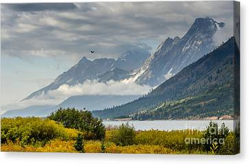 Low Clouds On The Teton Mountains Canvas Print by Debra Martz