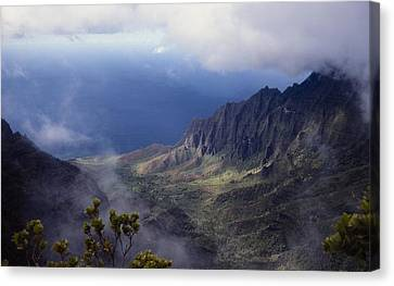 Low Clouds Over A Na Pali Coast Valley Canvas Print by Stuart Litoff