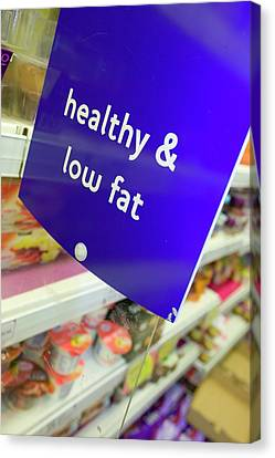 Low Fat Food In A Supermarket Canvas Print by Ashley Cooper