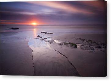 Low Tide At Glyne Gap Canvas Print by Mark Leader