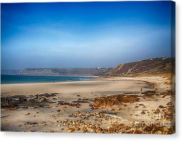 Sennen Cove Canvas Print - Low Tide At Sennen Cove by Chris Thaxter