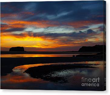 Canvas Print featuring the photograph Low Tide At Sunrise by Trena Mara
