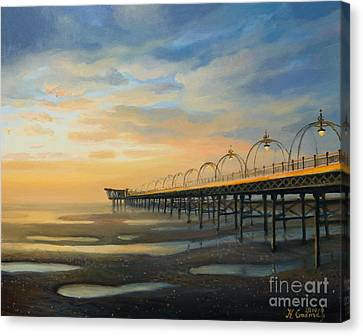 Lamp Post Canvas Print - Low Tide In Southport by Kiril Stanchev