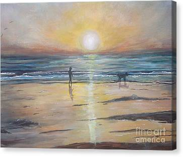 Low Tide Sunset. Southern California  Canvas Print by Linea App