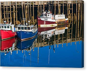 Boats And Reflections At Low Tide On Digby Bay Nova Scotia Canvas Print