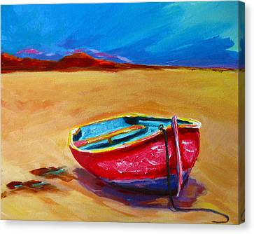 Low Tides - Landscape Of A Red Boat On The Beach Canvas Print by Patricia Awapara