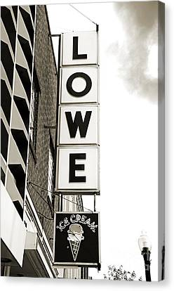 Lowe Drug Store Sign Bw Canvas Print by Andee Design