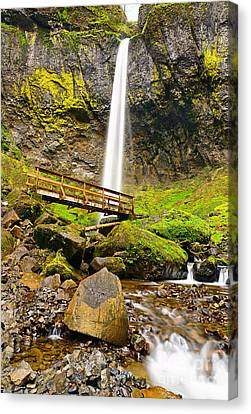 Green Lichen Canvas Print - Lower Angle Of Elowah Falls In The Columbia River Gorge Of Oregon by Jamie Pham