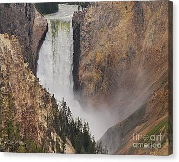 Canvas Print featuring the photograph Lower Falls - Yellowstone by Mary Carol Story