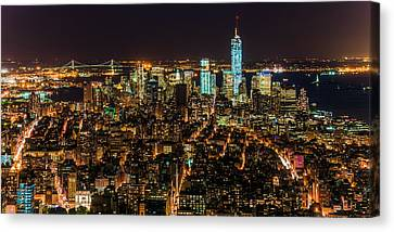 Canvas Print featuring the photograph Lower Manhattan At Night 2 by Chris McKenna
