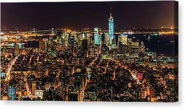 Lower Manhattan At Night 2 Canvas Print by Chris McKenna