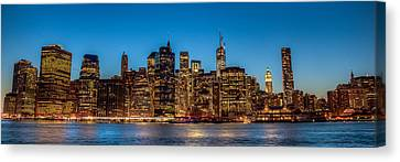 Canvas Print featuring the photograph Lower Manhattan At Night by Chris McKenna