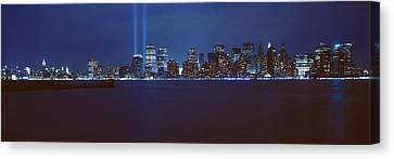 Lower Manhattan, Beams Of Light, Nyc Canvas Print by Panoramic Images