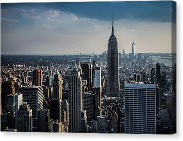 Lower Manhattan Featuring The Empire State Building Canvas Print