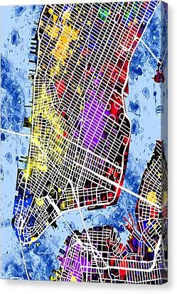 Times Square Canvas Print - Lower Manhattan Map by Stephen Younts