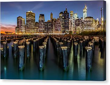 Canvas Print featuring the photograph Lower Manhattan by Mihai Andritoiu
