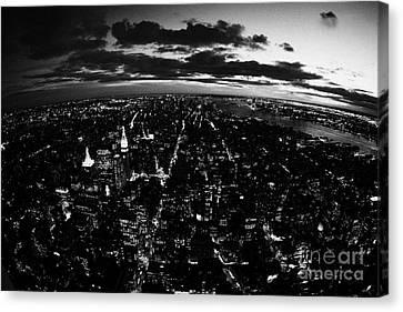Lower Manhattan New York City Night Sunset Dark  Canvas Print by Joe Fox