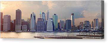 Lower Manhattan Panorama From Brooklyn Canvas Print by Thomas Marchessault