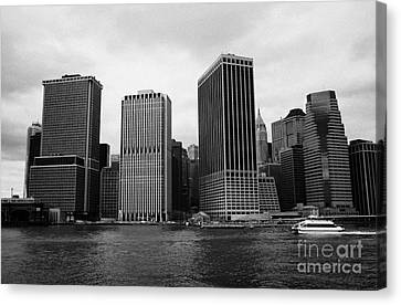 Lower Manhattan Shoreline And Skyline And Financial District Waterfront New York City Canvas Print by Joe Fox