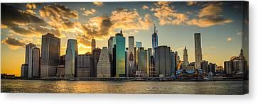 Canvas Print featuring the photograph Lower Manhattan Sunset 3-1 by Chris McKenna