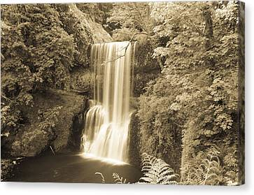 Lower South Falls In Sepia Canvas Print