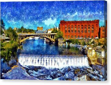 Lower Spokane Falls Canvas Print by Kaylee Mason