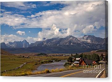 Haybales Canvas Print - Lower Stanley  And The Valley by Robert Bales