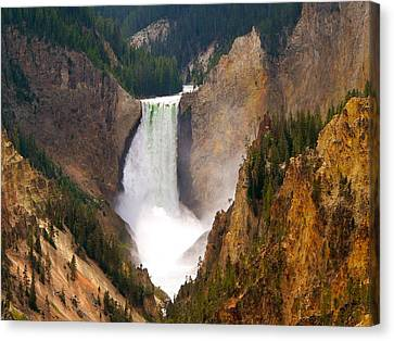 Canvas Print featuring the photograph Lower Yellowstone Falls by Eric Tressler