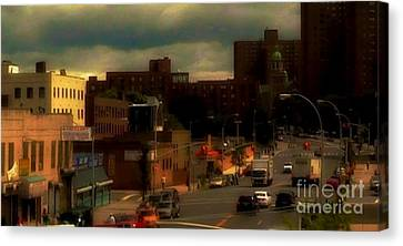 Canvas Print featuring the photograph Lowering Clouds by Miriam Danar