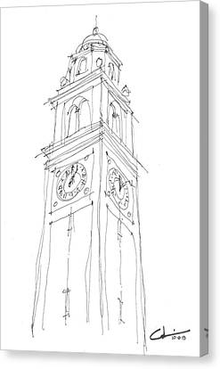 Canvas Print featuring the drawing Lsu Bell Tower Study by Calvin Durham