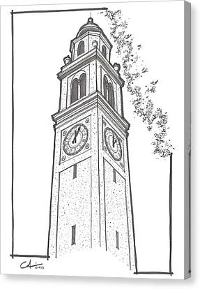 Canvas Print featuring the drawing Lsu Memorial Bell Tower by Calvin Durham