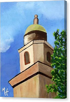 Canvas Print featuring the painting Lsu Memorial Tower by Margaret Harmon
