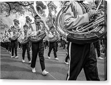 Lsu Tigers Band Monochrome Canvas Print by Steve Harrington
