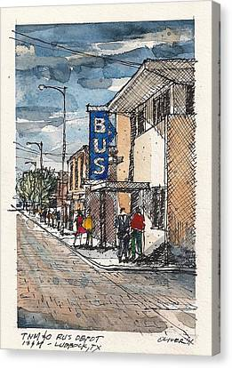 Greyhound Canvas Print - Lubbock Bus Station by Tim Oliver