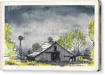 Canvas Print featuring the mixed media Lubbock County Barn by Tim Oliver