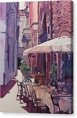 Lucca Cafe Canvas Print by Jenny Armitage