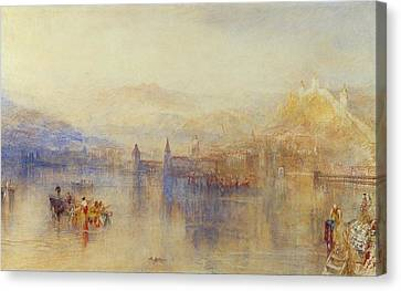 Lucerne From The Lake Canvas Print by JMW Turner