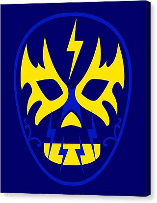 El Toques Luchador Blue Yellow Canvas Print by MX Designs