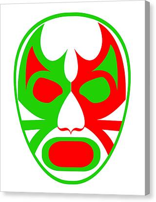 El Bandera Luchador Green Red White Canvas Print by MX Designs