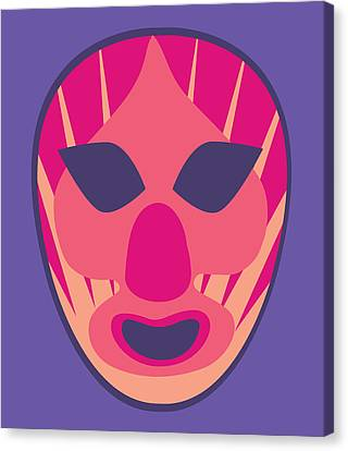 Scary Clown Luchador Purple Red Pastels Canvas Print by MX Designs