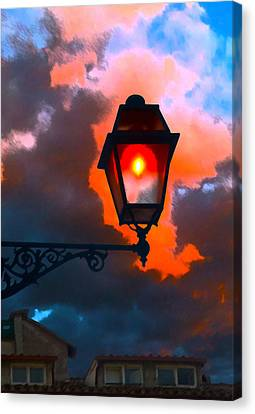 Canvas Print featuring the digital art Luci Di Roma by Sandro Rossi