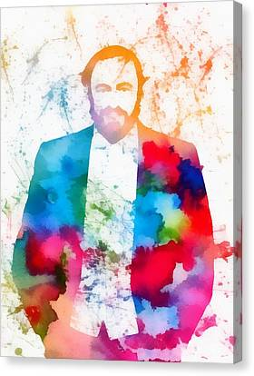 Luciano Pavarotti Paint Splatter Canvas Print by Dan Sproul