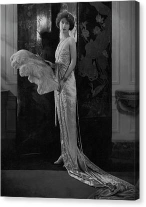 Ostrich Feathers Canvas Print - Lucie Bigelow Rosen Holding An Ostrich Feather by Edward Steichen