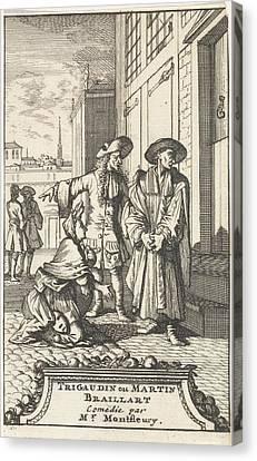Lucie Kneels For La Riviere Who Is Dressed Up As A Spiritual Canvas Print by Caspar Luyken And Adriaan Braakman