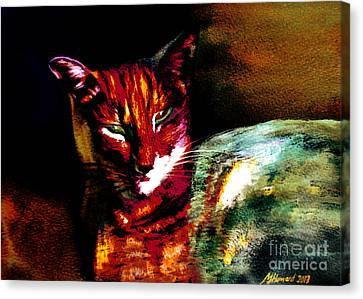 Lucifer Sam Tiger Cat Canvas Print by Martin Howard