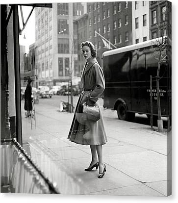 Lucille Carhart Window Shopping On A Street Canvas Print by Frances Mclaughlin-Gill