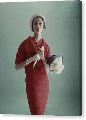 Lucinda Hollingsworth Wearing A Red Suit Canvas Print