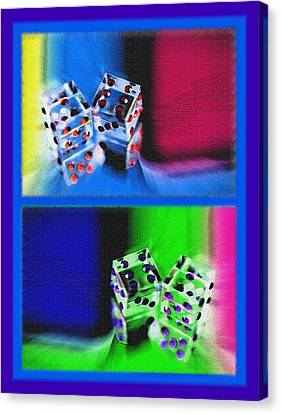 Lucky Dice Diptych - Mirrored Images Canvas Print by Steve Ohlsen