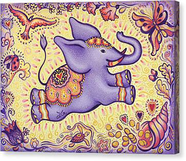 Lucky Elephant Purple Canvas Print by Judith Grzimek