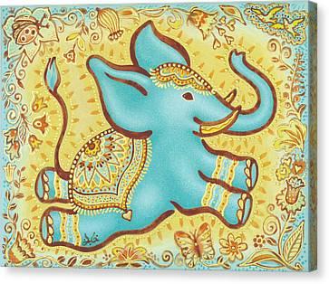 Inner Self Canvas Print - Lucky Elephant Turquoise by Judith Grzimek